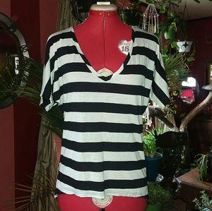 Maurices Black & White Stripe V Neck Tee Shirt